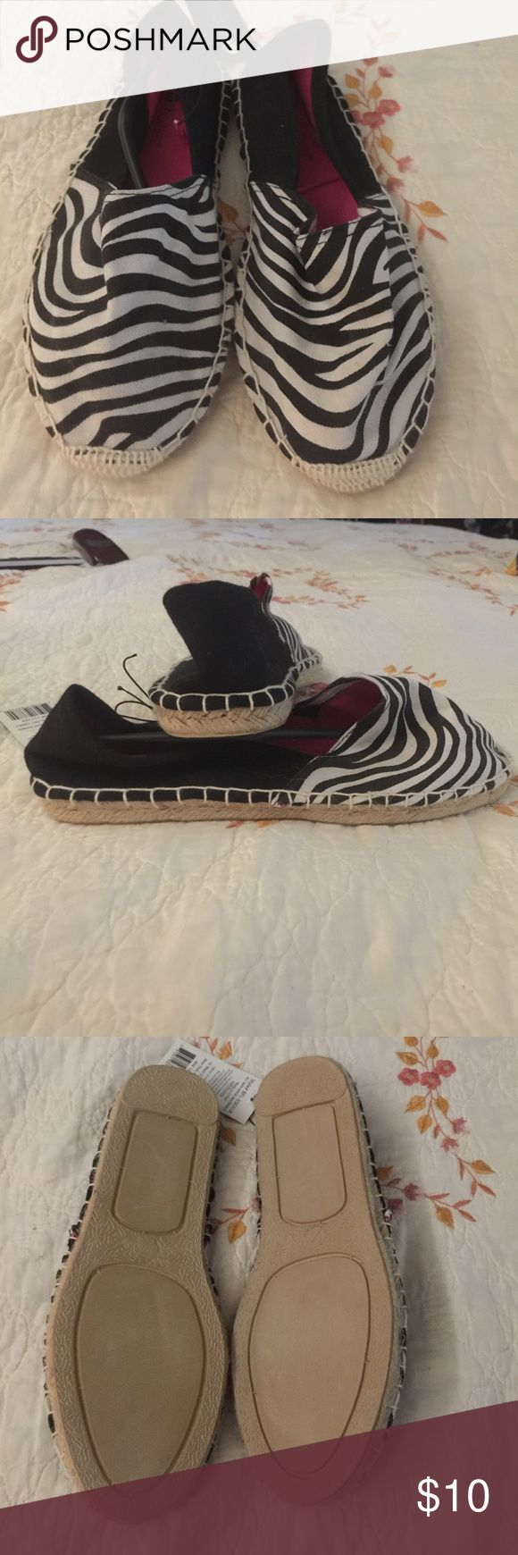 Chatties black and white zebra espadrilles Chatties size M (7/8) black and white zebra print espadrilles.  These are new with tags never worn. Super cute and just in time for summer! chatties Shoes Espadrilles