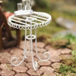 Miniature White Round Garden Table - Fairy Garden Miniatures - Dollhouse Miniatures - Doll Making Supplies - Craft Supplies