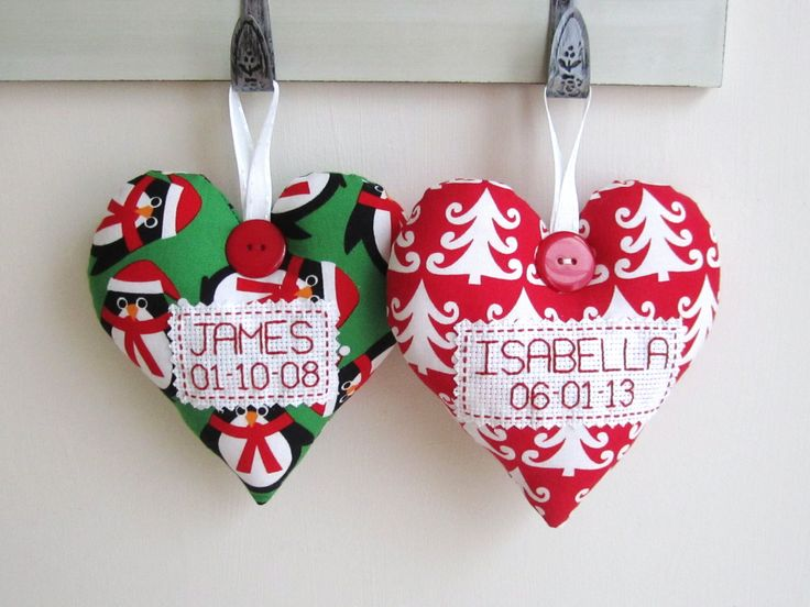 Small PERSONALISED Heart Christmas Tree Decorations - £10 each plus P&P