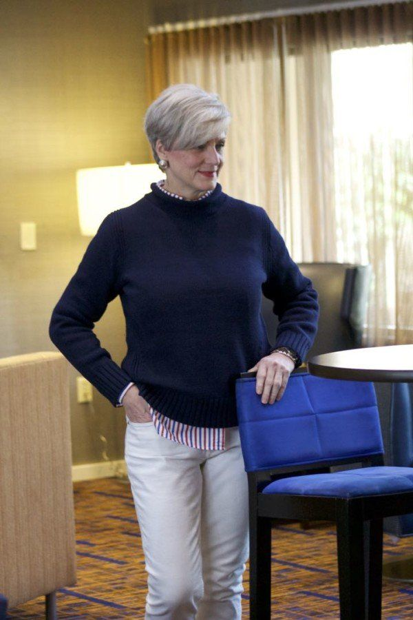 Jcrew Roll Neck Sweater Jcrew Striped Shirt Everlane Denim Tory