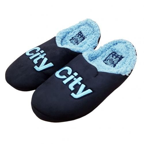 MANCHESTER CITY Mule Slippers in club colours and featuring the club crest. Shoe size 11/12 (UK) 45/46 (EU). Official Licensed Manchester City slippers. PRICE INCLUDES DELIVERY