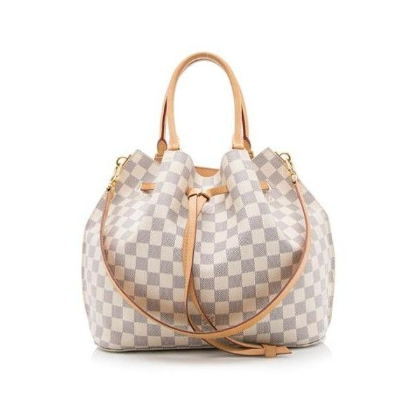 Pre-Owned Louis Vuitton Damier Azur Girolata Tote (19.175.680 IDR) ❤ liked on Polyvore featuring bags, handbags, tote bags, blue, pattern tote bag, tote purses, louis vuitton tote bag, tote handbags and blue purse