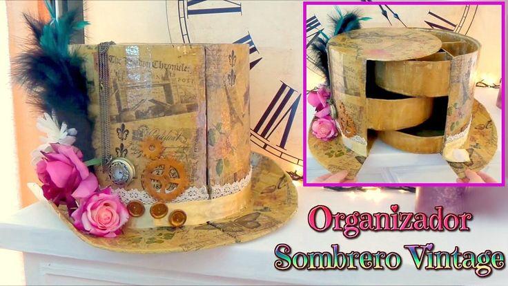Organizador de cart n en forma de sombrero de copa vintage - Manualidades en carton ...