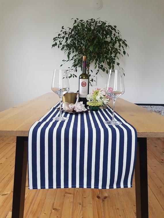 Navy Blue And White Stripe Table Runner Nautical Pure