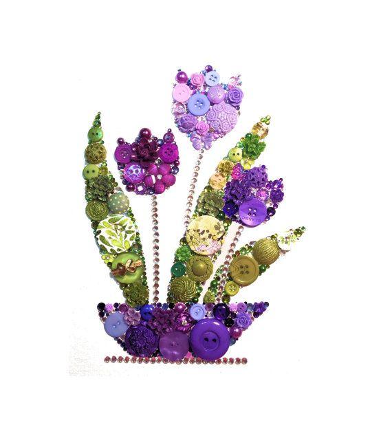 PURPLE TULIPS 8x10 Button Artwork, Button Art, wall art, flower art, Swarovski, rhinestones, elegant, valentine art, diy, ooak, made in USA
