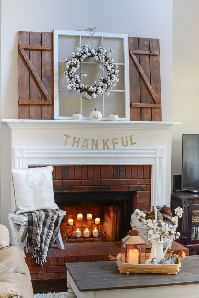 Neutral Farmhouse Fall Mantel And Living Room 5 Farmhouse Fireplace Decor Fireplace Mantel Designs Fireplace Mantle Decor