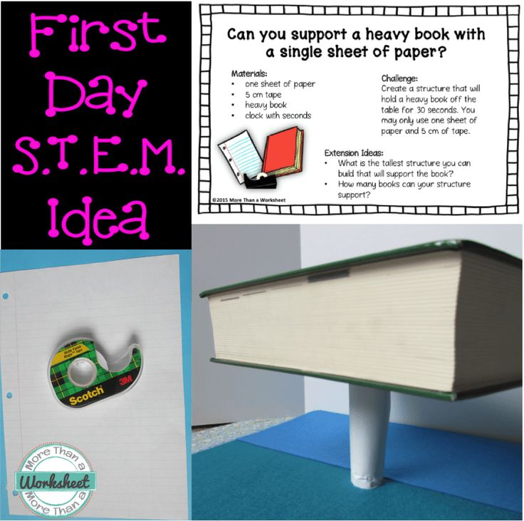 A super easy STEM engineering idea for the first day of school. Also ideas for setting expectations with your students. Grab this FREE printable from More Than a Worksheet!