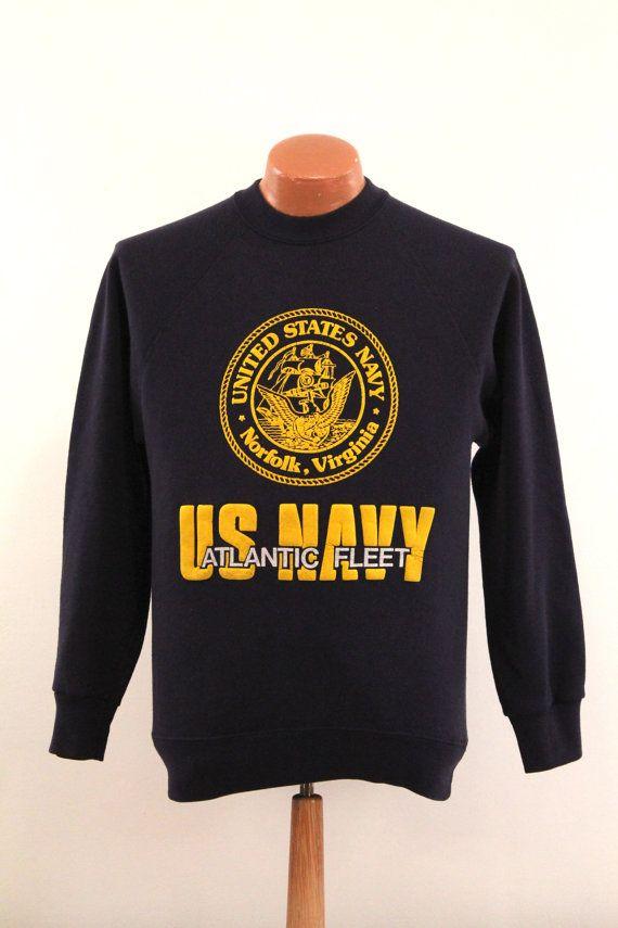 Vintage US Navy Sweatshirt  Men's Medium M  by BlueCollarVintage, $22.00