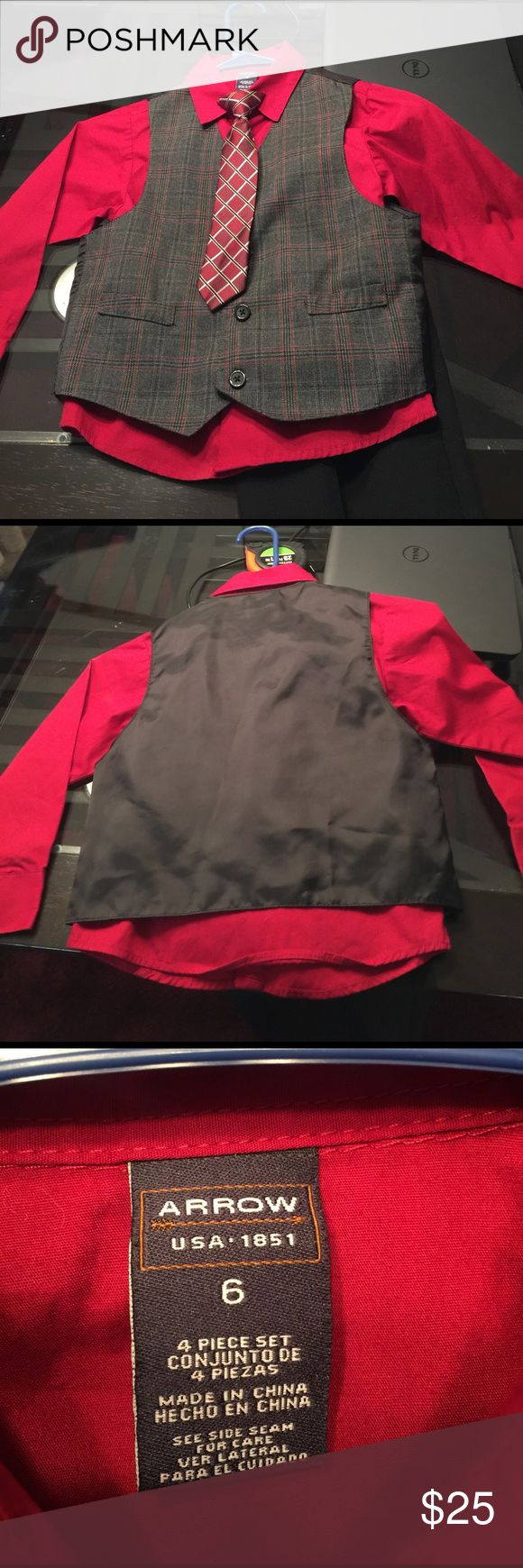 Little Boy 4 Piece Suit NWOT. Clip on tie, deep red Button Up shirt, grey, red & black vest and black Elastic waist band pants. Arrow Matching Sets