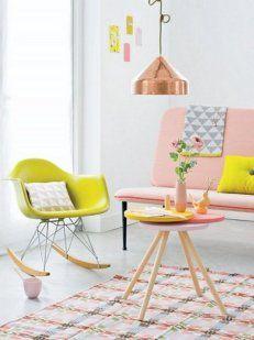 La yuxtaposición de colores pasteles y vibrantes puede resultar es espacios de ensueño.