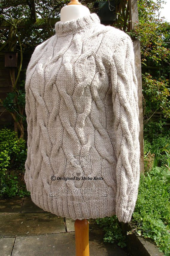 Chunky Cabled Sweater Beige Sweater Handknitted Sweater