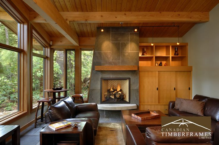 modern fireplace & living room