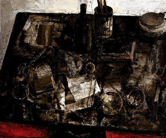 tavolo rosso_olio su tela 70x100 1996 Рисунки