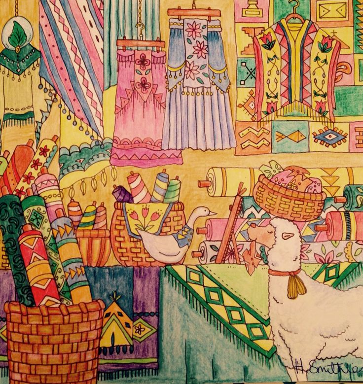 Fabric store from Romantic Country:The Third Tale - Eriy. In Polychromos pencils.
