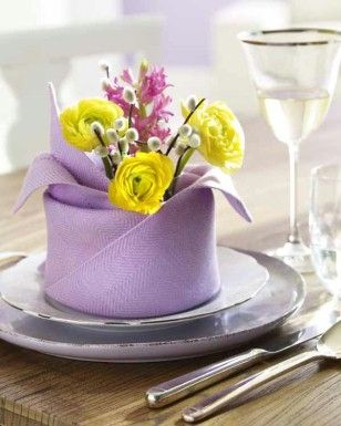 Spring Dinner Napkin fold idea. shop our large variety of napkins at www.cvlinens.com     (image via www.tablescapesbydesign.com https://www.facebook.com/pages/Tablescapes-By-Design/129811416695