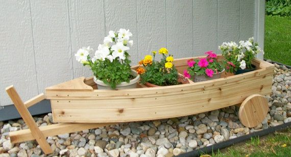 Adorable Nautical all cedar boat and trailer outdoor landscape garden box planter lawn or yard ornament decoration