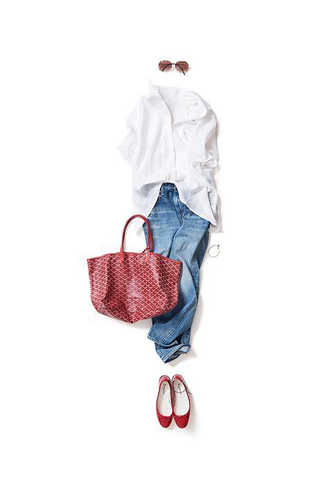 リネンブラウス&デニムを女っぽく着る 2016-08-09