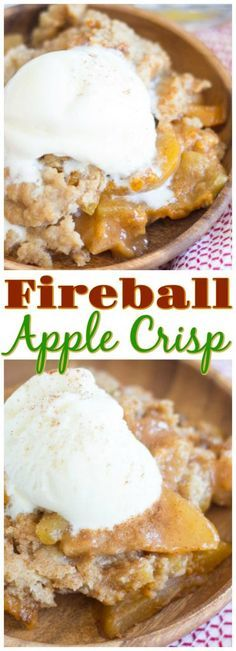 Classic apple crisp, spiked with Fireball whiskey for a boozy kick! This Fireball Apple Crisp is loaded with sweet cinnamon-y apples, topped with buttery, brown sugar streusel, and the Fireball whiskey makes it pop!