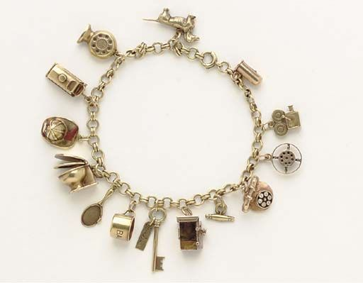 Jean Harlow's charm bracelet auctioned by Christie's. Seller was left bracelet by a great uncle who knew Harlow when he worked at Hal Roach Studios in 1930s. She was told charms were gifted to Harlow by various co-stars: thermometer, dog, fan, water wagon, fireman's hat, toilet from William Powell, mirror from Theda Bara, baby's cup, key, mailbox, telephone from Clark Gable, microphone and film projector from Louis B. Mayer. (Wonder how he got it--after Harlow's death in 1937?)