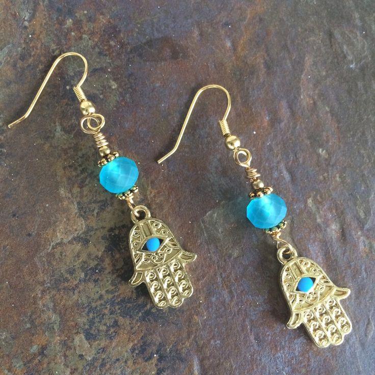 Hamsa Hand Earrings Blue by circleofstonesjewel on Etsy