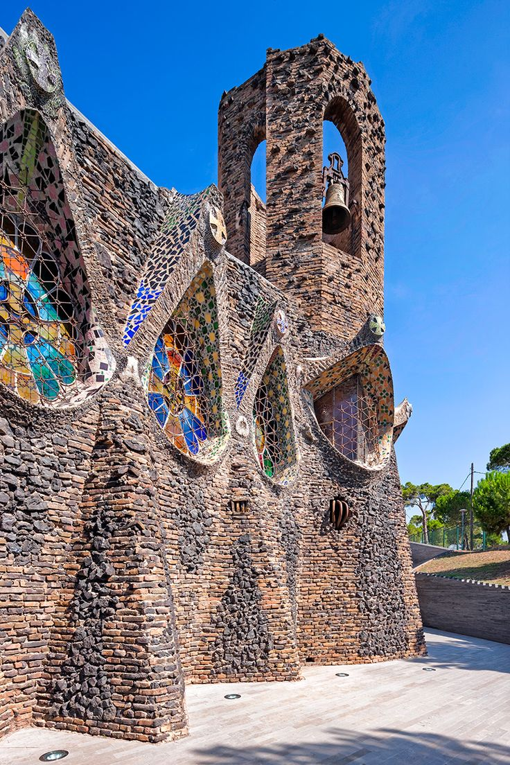 The 'gaudí crypt'. one of the buildings that form the colonia güell, it is considered by many as a singular workshop where gaudi practiced solutions that were later applied to the hugely famous sagrada familia.