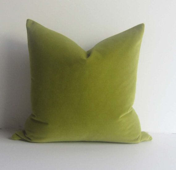 Apple Green Velvet Pillow - Decorative Pillow Cover - 20 inch - Light Chartreuse - spring green ...