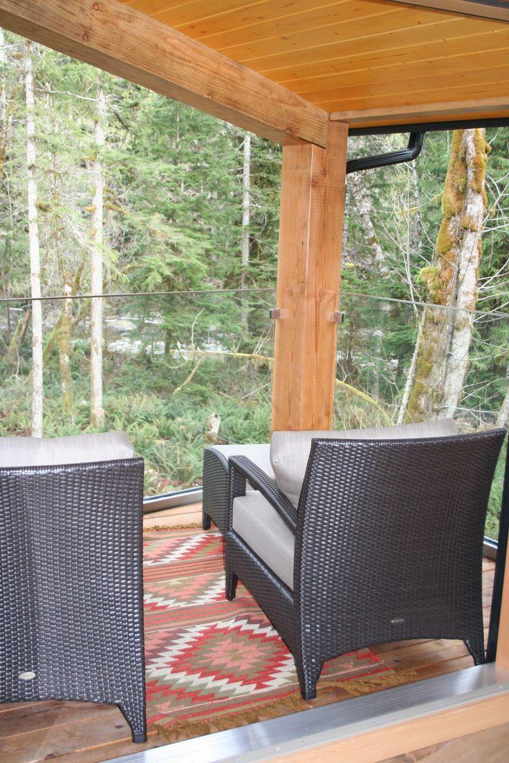 Frameless railing in custom laminated tempered.