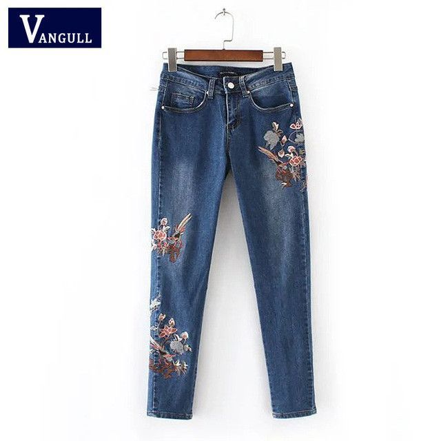 Floral embroidery jeans female slim casual denim pants summer skinny jeans woman blue trousers jeans pockets bottom clothes