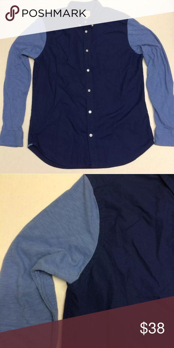 Gap-Oxford SHIRT L/Sleeve Large Blue Cotton Jersey Gap  - MEN'S modern Oxford SHIRT long sleeve Large  Blue Cotton Jersey Sleeve GAP Shirts Casual Button Down Shirts