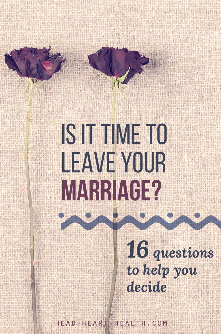 Should I Stay or Should I Go? 16 questions to help you decide if it is time to leave your marriage >> http://head-heart-health.com/16620/should-i-stay-or-should-i-go
