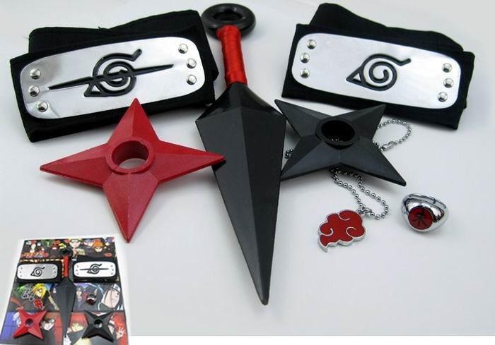 Naruto Headband Kunai Ring Necklace NAHK1579