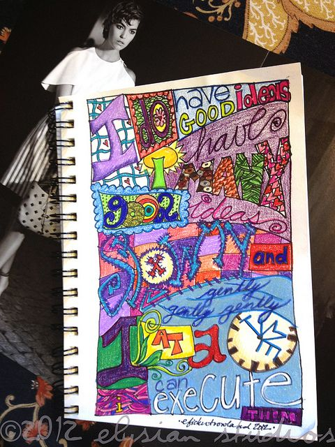 Creative Exercise: Make a Zentangle Inspirational Text. This would be a great way to add quotes to an art journal.