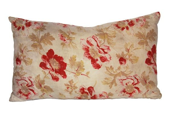 Cream Floral Throw Pillows : Antique French floral pillow in taupe, red/rust and cream with a vintage taupe and white stripe ...