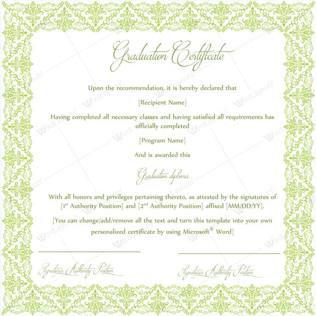 13 best Graduation Certificate Templates images on Pinterest - certificate templates word