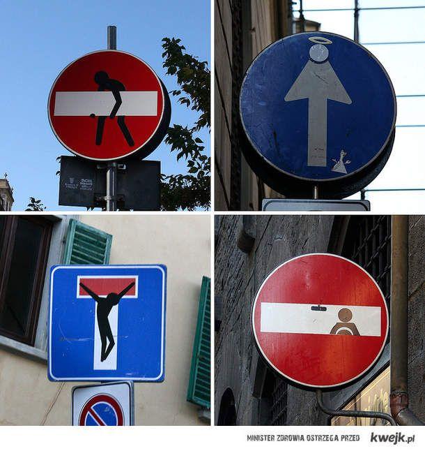 Dziwne znaki drogowe we florencji