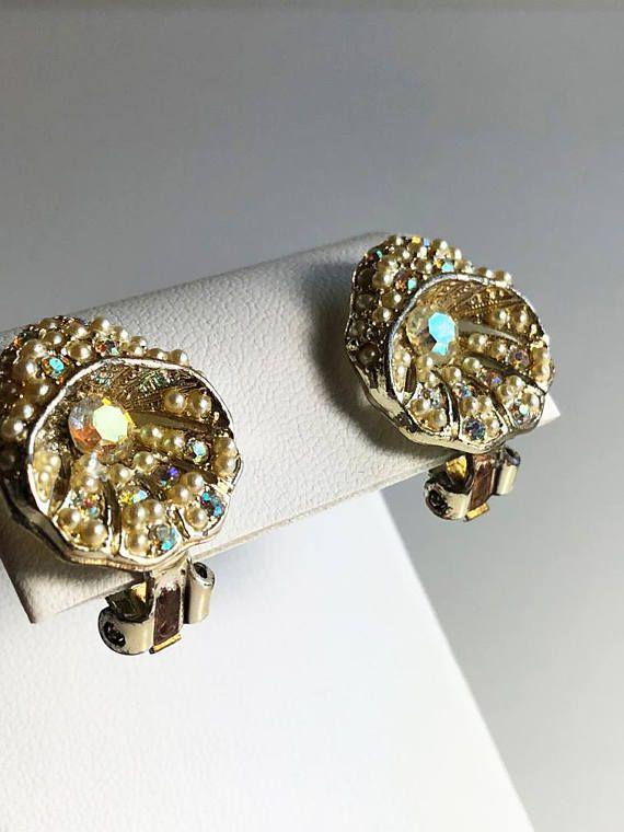 Formal Clip Earrings Tail On Crystal Vintage