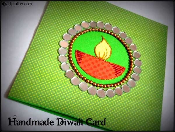 Handmade diwali card with a diya center art platter i need this pinterest diwali Home made decoration items for diwali