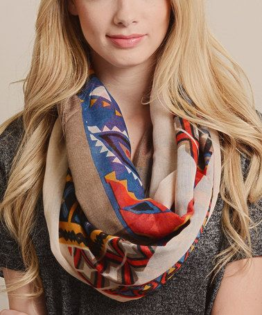 Another great find on #zulily! Blue & Yellow Tribal Infinity Scarf by Leto Collection #zulilyfinds