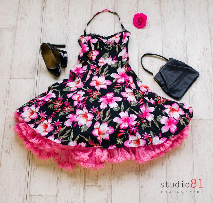 Hibiscus Pink Flower Dress (Size M), Pink Petticoat, Black Patent Heels, Black Leather Handbag, Pink Flower Hair Clip