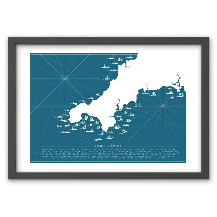 Cornish Shipwreck Map in Atlantic Blue - Hand pulled screen print. 50cm x 70cm / 19.6 inches x 27.5 inches. 100% recycled archival quality paper. Printed using water based archival quality eco inks. £40 www.toddjarvis.co