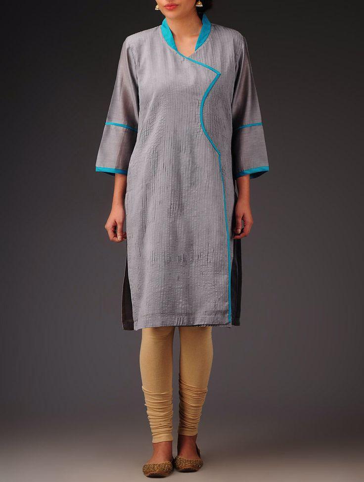 Buy Grey Turquoise Pintuck with Collar Angrakha Chanderi Kurta Online at Jaypore.com