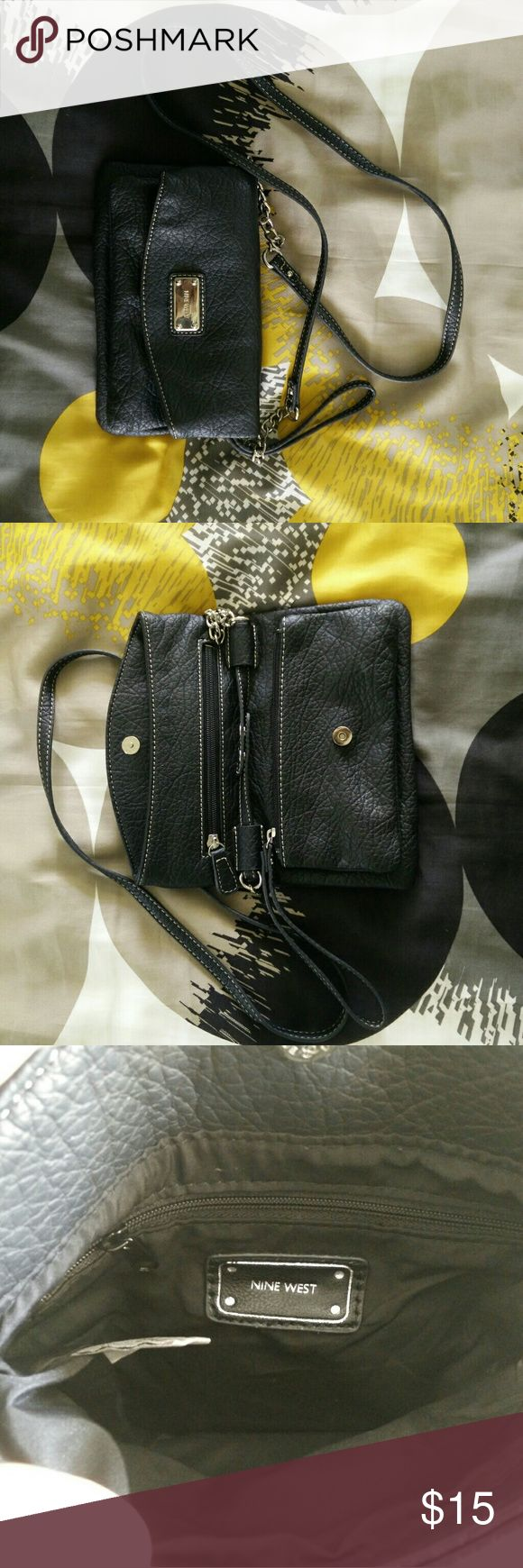 Nine West Purse Blk. Nine west purse. Plether. W/thee separate  compartments. Nine West Bags Crossbody Bags
