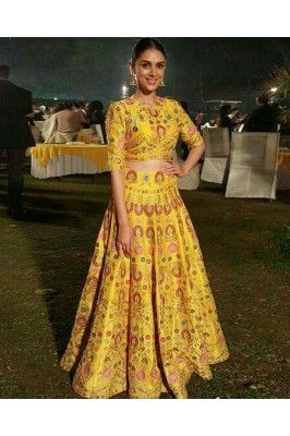 Yellow Printed Silk Lehenga Set