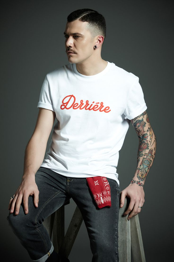 #Derriere fall/winter 2014 #dderriere #jeans #denim  #Pantalone #Pant #Black #Regular #Marble #Wash #Maglietta #Tshirt #White #Logo #Red