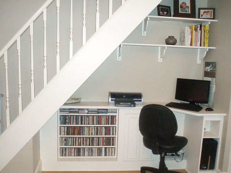 pretty home offices | ... Home Office : Pretty Storage Solutions Under Staircase Home Office