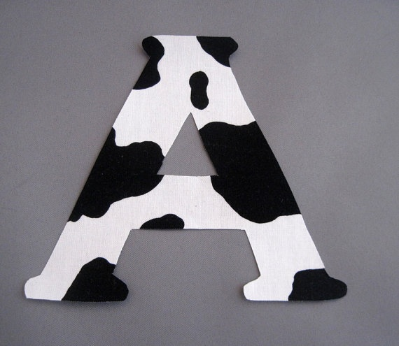 Black and White Cow Print Letter or Number by CrazyCraftyNana, $2.50