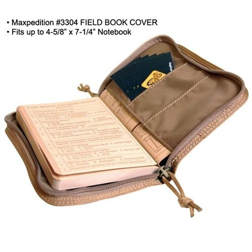 Maxpedition Field Book Cover - heavy-duty nylon with 4 marker/pen sleeves on the inside, and a Velcro area on the cover for morale patches - mine's black, with my Jolly Roger morale patch affixed. I keep my sharpies and my Pilot G2 gel pen inside.