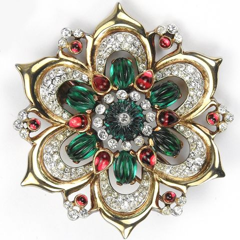 Trifari 'Alfred Philippe' Moghul Jewels Gold Emerald and Ruby Star Flower Pin Clip