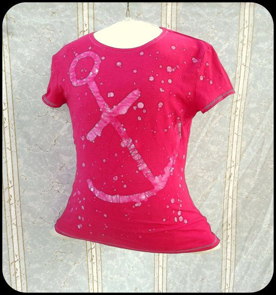Batik TShirt  Women's Medium  Anchor  Red  Fitted by GraceAtieno, $25.00