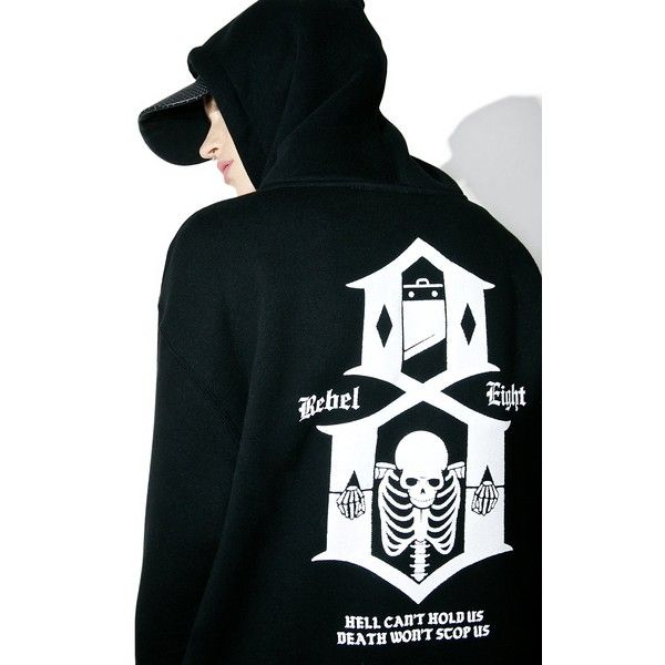 Rebel8 Hell Can't Hold Us Hoodie ($70) ❤ liked on Polyvore featuring tops, hoodies, oversized tops, skull top, oversized hoodies, logo hoodie and oversized hoodie